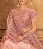 Pastel Pink Designer Heavy Embroidered Satin Silk Wedding Lehenga-Saira's Boutique