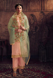 Pastel Pink & Dusty Sea Green Designer Embroidered Palazzo Suit-Saira's Boutique