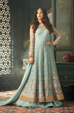 Pastel Blue Designer Embroidered Net Wedding Anarkali Suit