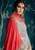 Pastel Blue & Red Designer Embroidered Satin Silk Anarkali Suit-Saira's Boutique