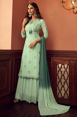 Teal Green Designer Embroidered Silk Party Wear Palazzo Suit