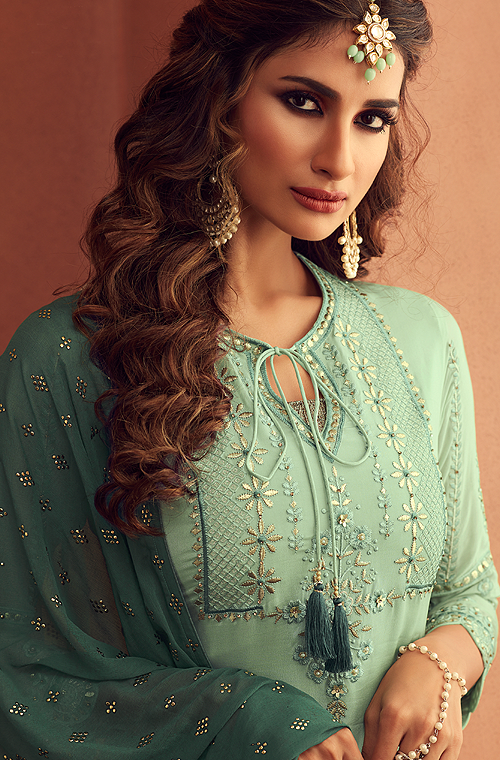 Pastel Green & Dark Green Designer Embroidered Georgette Sharara Suit-Saira's Boutique