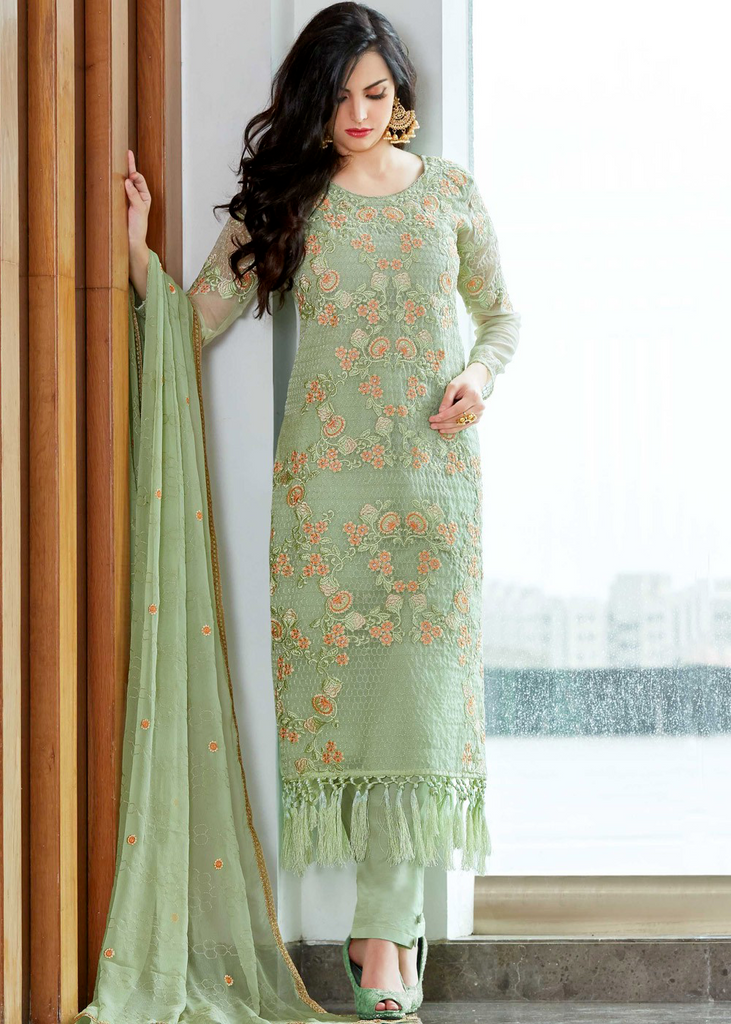 Pastel Green Designer Embroidered Organza Party Wear Pant Suit-Saira's Boutique