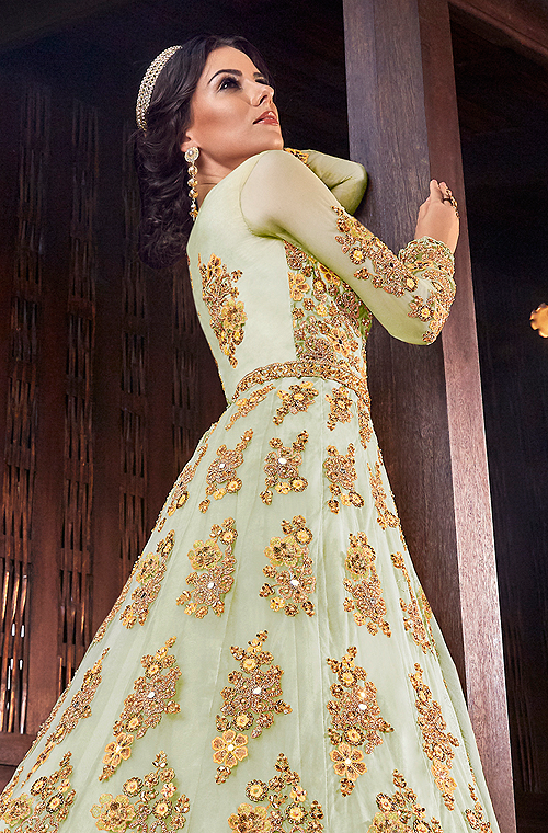 Pastel Green & Yellow Designer Heavy Embroidered Bridal Anarkali Gown-Saira's Boutique