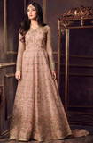 Pastel Peach Designer Embroidered Net Anarkali Suit-Saira's Boutique