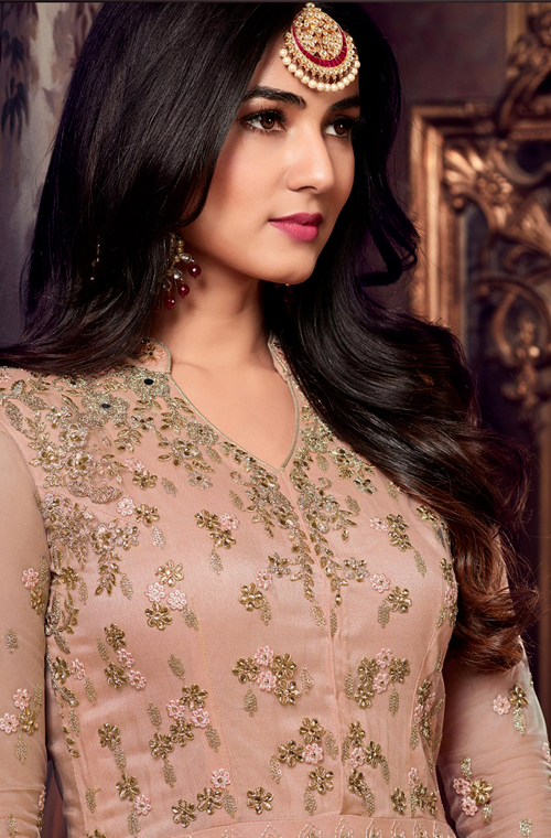 Pastel Peach Designer Embroidered Net Anarkali Suit