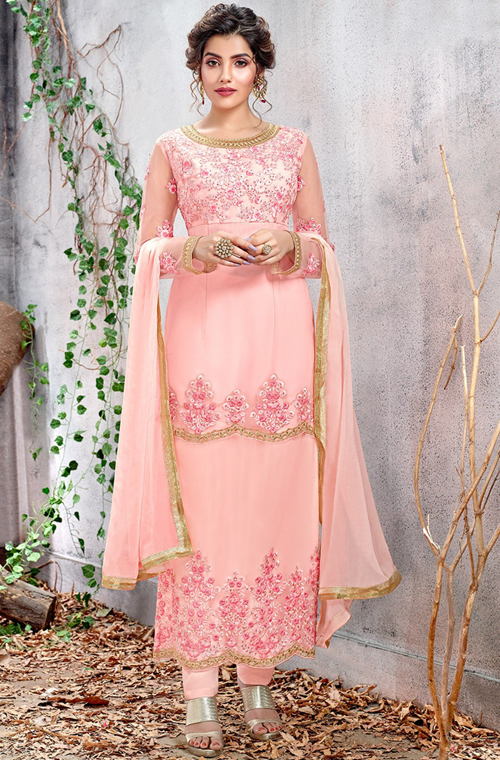 Pastel Pink Designer Embroidered Net Straight Cut Pant Suit-Saira's Boutique