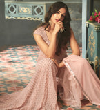 Pastel Pink Designer Embroidered Net Wedding Anarkali Suit-Saira's Boutique