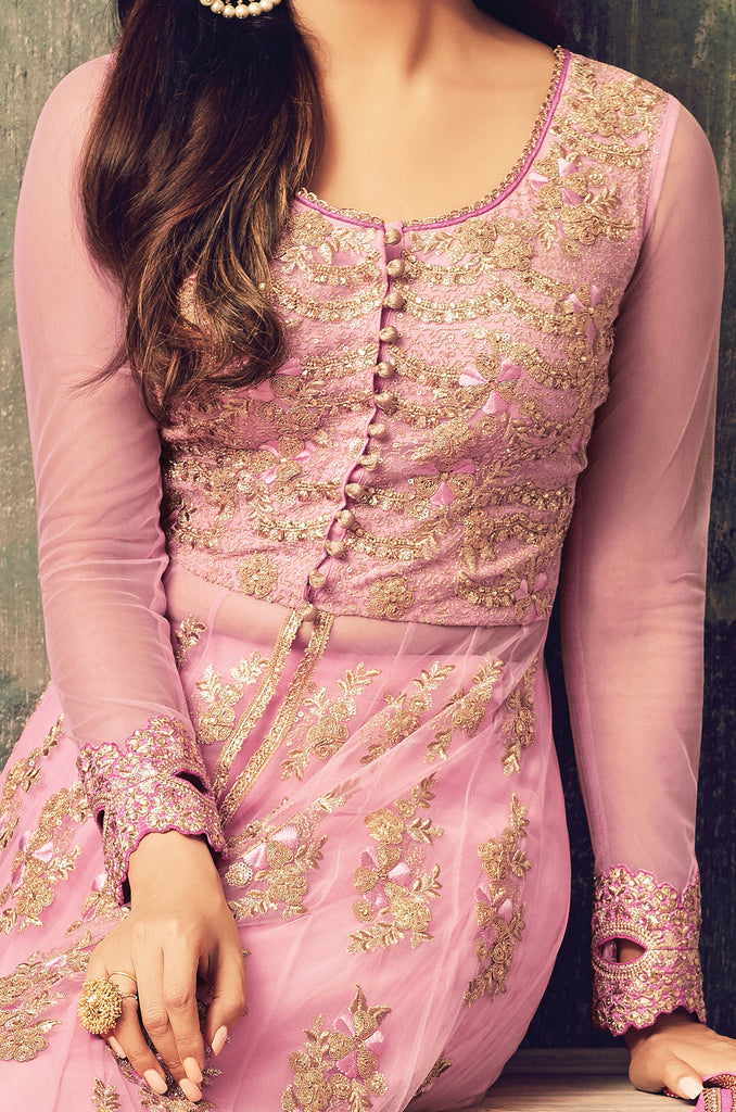 Pastel Pink Designer Heavy Embroidered Net Anarkali Suit-Saira's Boutique