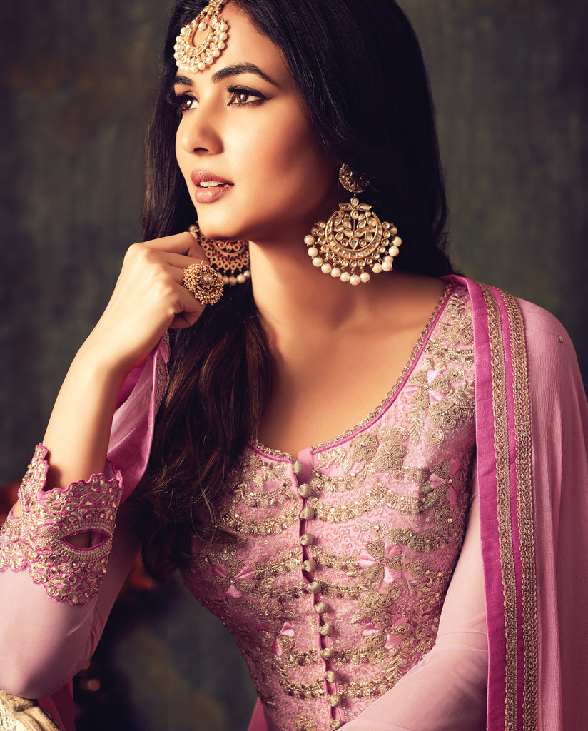 Pastel Pink Designer Heavy Embroidered Net Anarkali Suit