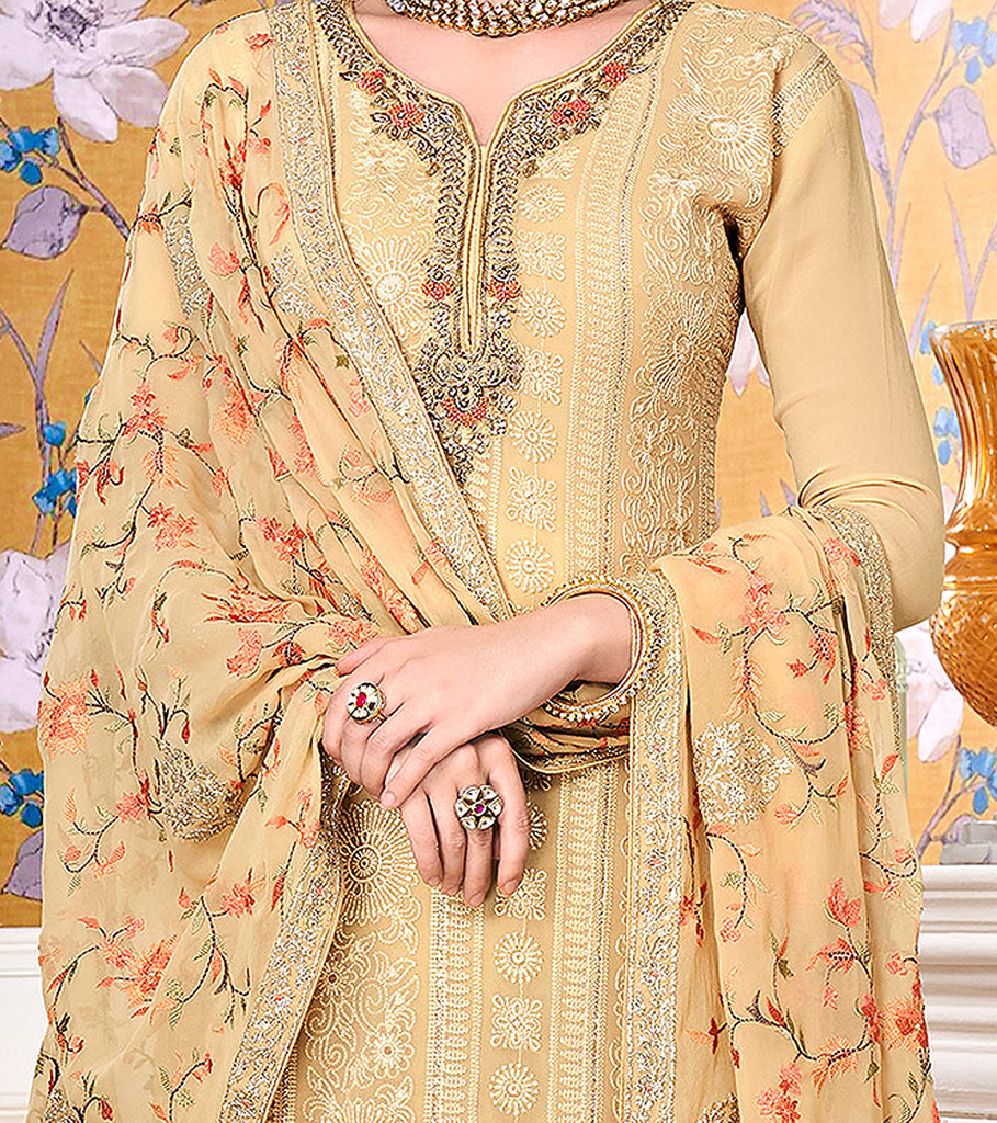 Pastel Yellow Designer Embroidered Georgette Straight Cut Pant Suit-Saira's Boutique