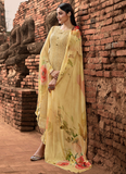 Pastel Yellow Designer Embroidered Lucknowi Chikankari Pant Suit-Saira's Boutique