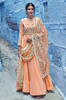 Peach Designer Embroidered Muslin Floor Length Anarkali Suit-Saira's Boutique