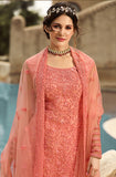 Peach Designer Embroidered Net Wedding Sharara Suit-Saira's Boutique