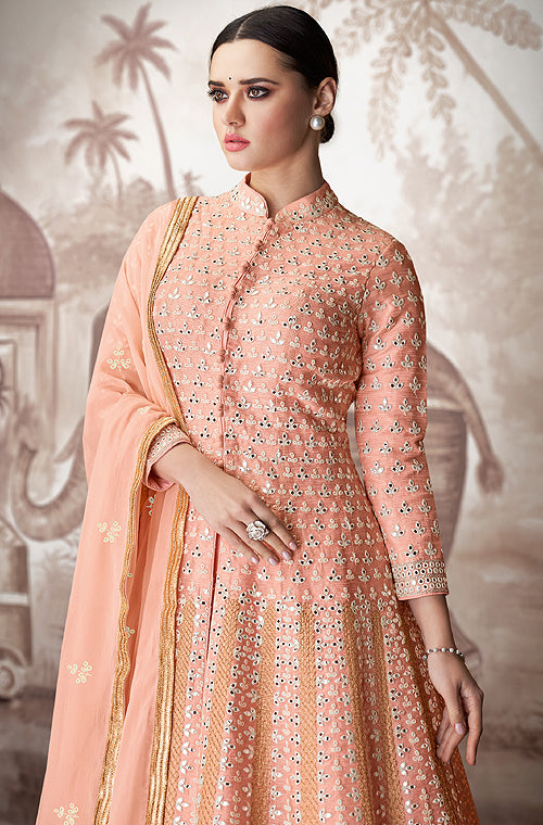 Peach Designer Heavy Embroidered Wedding Anarkali Suit-Saira's Boutique