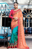 Peach & Blue Designer Embroidered Bridal Silk Saree