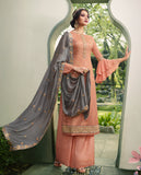 Peach & Charcoal Gray Designer Embroidered Wedding Palazzo Suit-Saira's Boutique