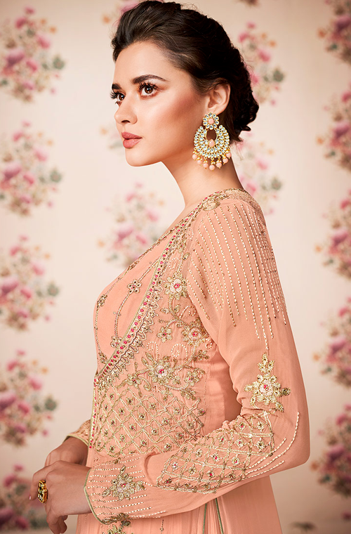 Peach Designer Embroidered Georgette Jacket Style Anarkali Suit-Saira's Boutique