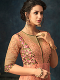 Peach Designer Embroidered Net Wedding Anarkali Suit-Saira's Boutique