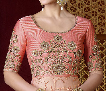 Peach Designer Embroidered Premium Net Anarkali Gown