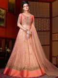 Peach Designer Embroidered Premium Net Anarkali Gown-Saira's Boutique
