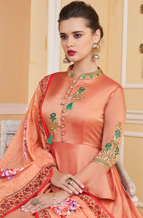 Peach Designer Embroidered Silk Anarkali Suit-Saira's Boutique