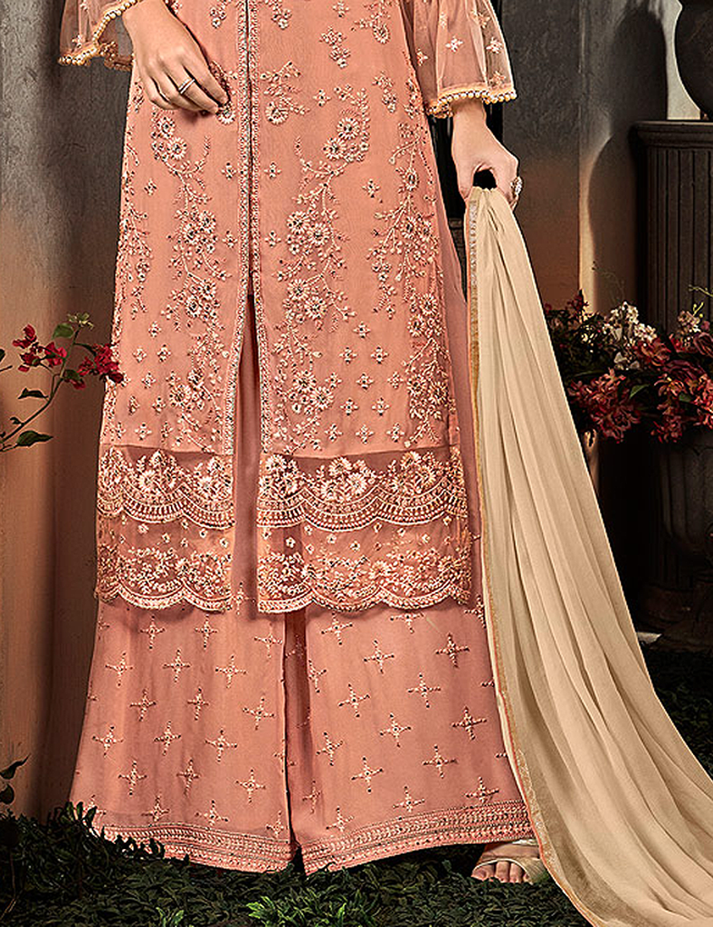Peach Designer Heavy Embroidered Georgette Wedding Palazzo Suit-Saira's Boutique