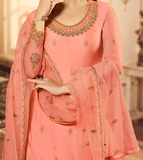 Peach Designer Heavy Embroidered Kurti Style Lehenga-Saira's Boutique