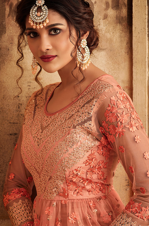 Peach Designer Heavy Embroidered Net Sharara Suit-Saira's Boutique