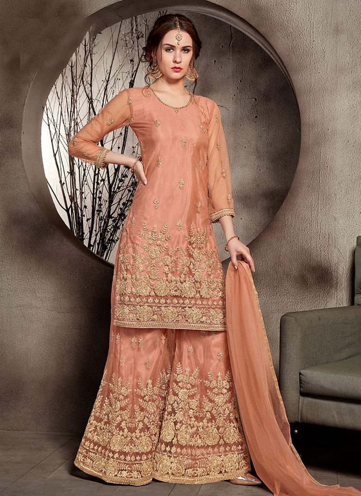 Peach & Gold Designer Embroidered Wedding Net Palazzo Suit-Saira's Boutique