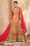 Peach & Gold Designer Heavy Embroidered Net Bridal Anarkali Suit-Saira's Boutique