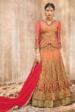 Peach & Gold Designer Heavy Embroidered Net Bridal Anarkali Suit