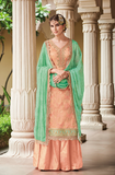Peach & Mint Designer Embroidered Silk Jacquard Gharara Suit-Saira's Boutique