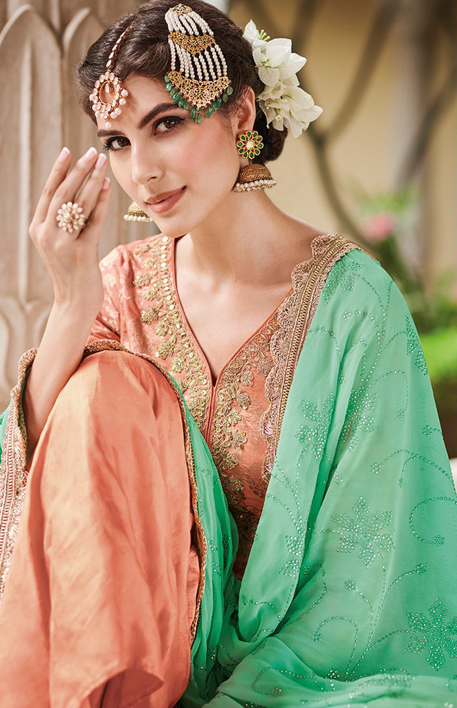 Peach & Mint Designer Embroidered Silk Jacquard Gharara Suit