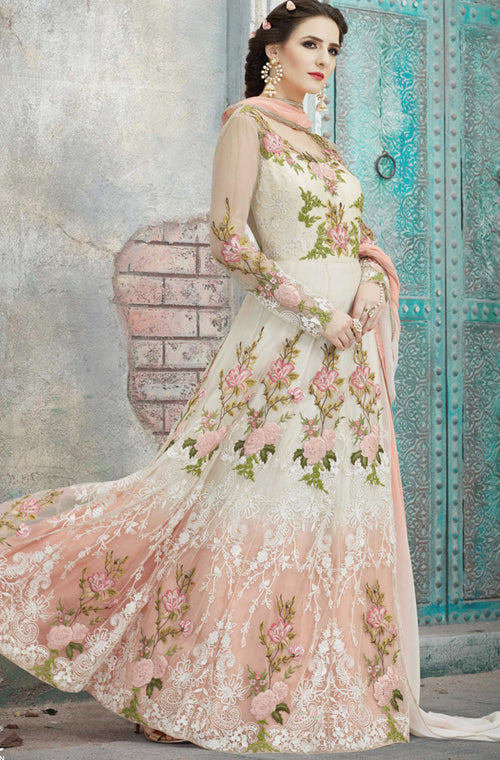 0c8a19c9ba7 Peach   Off White Designer Heavy Embroidered Net Anarkali Suit ...