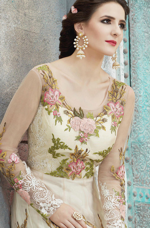Peach & Off White Designer Heavy Embroidered Net Anarkali Suit