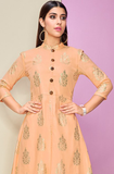 Peach & Off White Designer Printed Cotton Satin Kurti Palazzo Set-Saira's Boutique