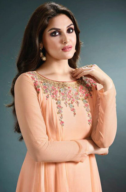 Peach Orange Designer Embroidered Georgette Kurti