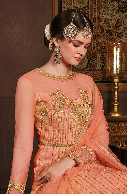 Peach Orange Designer Embroidered Party Wear Net Pant Suit-Saira's Boutique