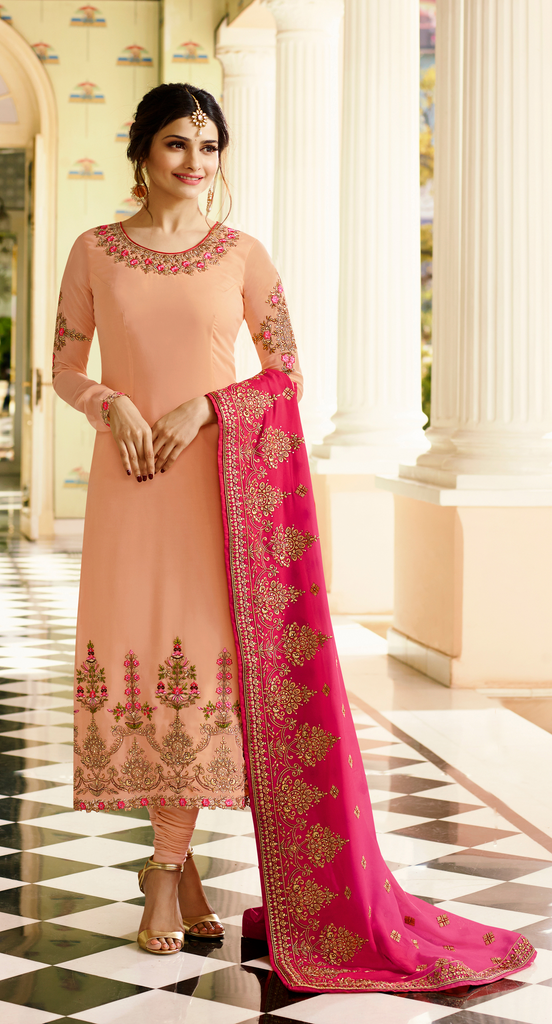 Peach & Pink Georgette Designer Embroidered Churidar Suit-Saira's Boutique