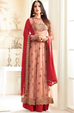 Peach & Red Designer Embroidered Net Anarkali Suit