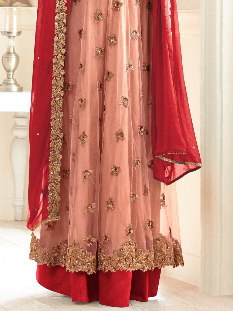 Peach & Red Designer Embroidered Net Anarkali Suit-Saira's Boutique