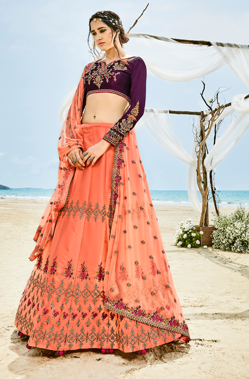 Peach & Wine Purple Designer Heavy Embroidered Silk Lehenga-Saira's Boutique