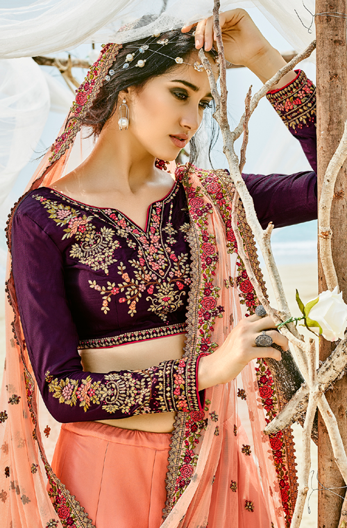 Peach & Wine Purple Designer Heavy Embroidered Silk Lehenga
