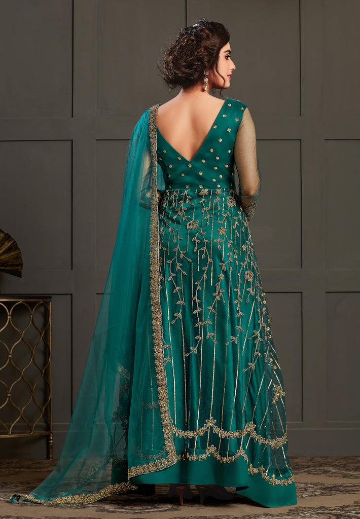 Peacock Blue Designer Heavy Embroidered Wedding Anarkali Gown-Saira's Boutique