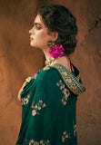 Peacock Green Designer Embroidered Silk Party Wear Palazzo Suit-Saira's Boutique