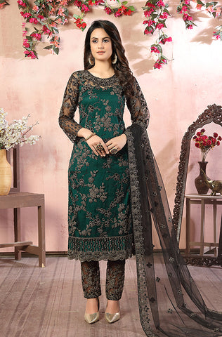 Navy Blue Designer Embroidered Jacquard Party Wear Pant Suit