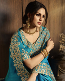 Peacock Blue Designer Embroidered Fancy Party Wear Saree-Saira's Boutique