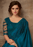 Peacock Blue Designer Embroidered Silk Party Wear Saree-Saira's Boutique