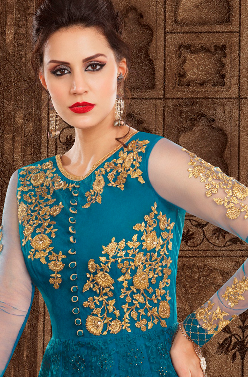 Peacock Blue & Yellow Designer Embroidered Net Anarkali Suit